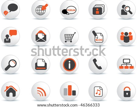 illustration of simple web and internet icons and symbols and buttons