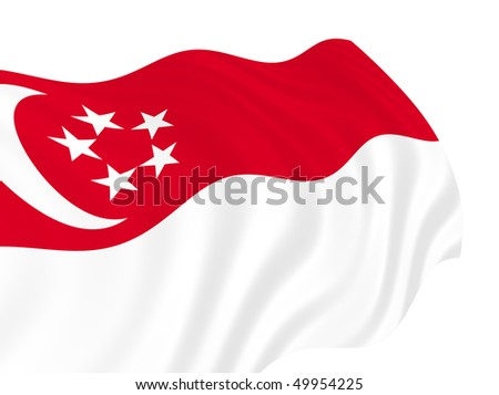 Illustration of Singapore flag waving in the wind - stock photo