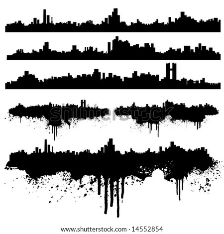 Illustration of six urban skylines, clean and splatter versions. Ink splashes highly detailed.