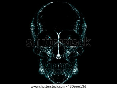 Illustration of skull, blue and white color/abstract skull on black background