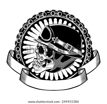 Illustration of skull motorcyclists with helmet. - stock photo