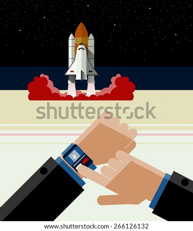 Illustration of Smart Watch and the Space Shuttle.  Space shuttle launch with Smart Watch. And a further flight of the shuttle. Flat Design. - stock photo
