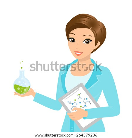 illustration of smiling female chemist with a folder in her hand - stock photo