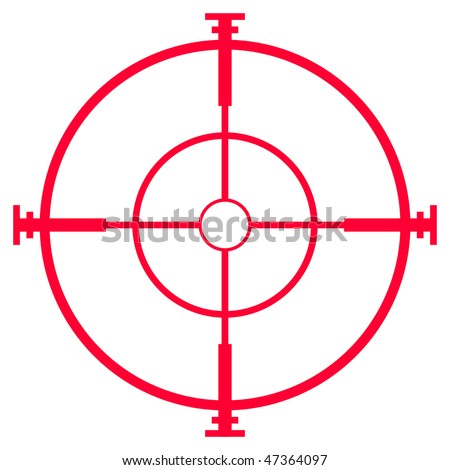 Illustration of sniper rifle sight or scope, isolated on white background. - stock photo