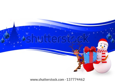 illustration of snow man with gift box
