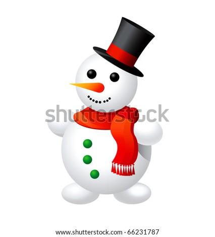 Illustration of snowman. - stock photo