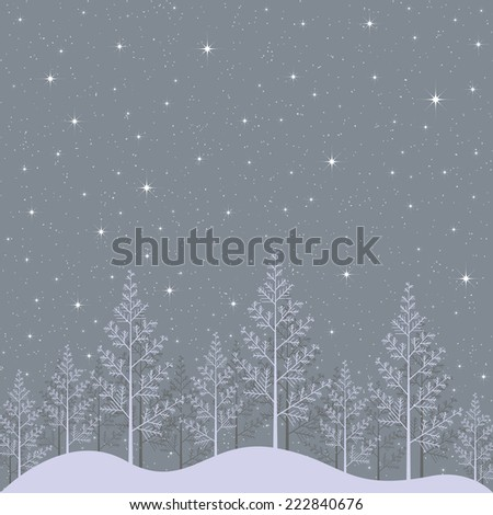 Illustration of snowy winter forest night with bright stars  - stock photo