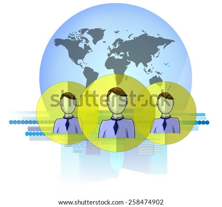 Illustration of social media heads with international business background isolated on white background - stock photo