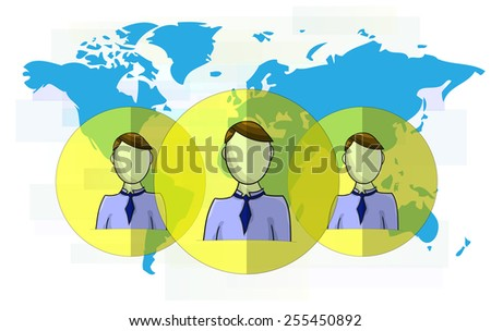 Illustration of social media heads with world map - stock photo
