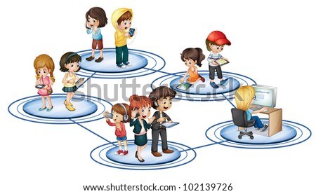 Illustration of social network convept - EPS VECTOR format also available in my portfolio. - stock photo