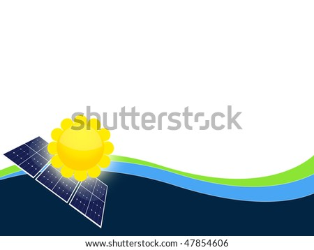 Illustration of solar panels cells for renewable energy - stock photo