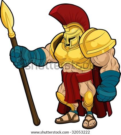 Illustration of Spartan or Trojan gladiator in armor - stock photo