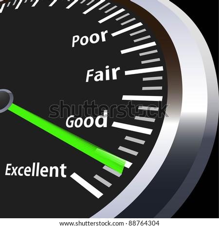 illustration of speedometer for evaluation - stock photo