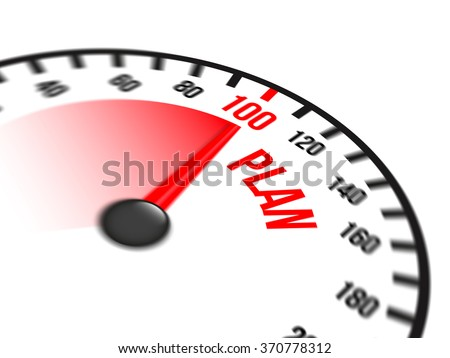 Illustration of speedometer with red arrow pointing to a hundred percent plan on white background
