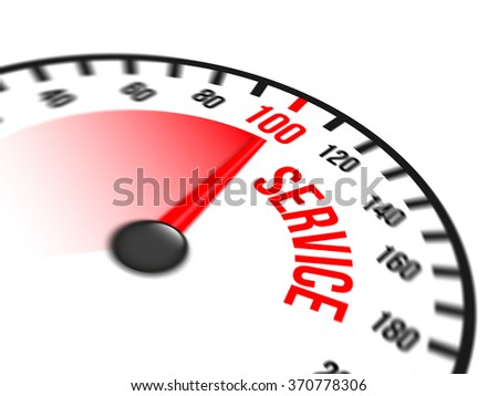 Illustration of speedometer with red arrow pointing to a hundred percent service on white background