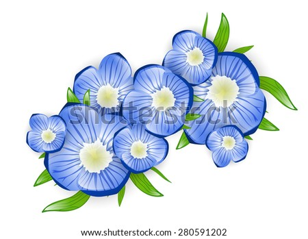 Illustration of Spring Forget-me-not Flower Branch - stock photo