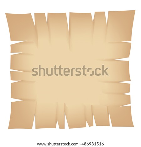 Illustration of Square Beige Torn Banner isolated on a white background