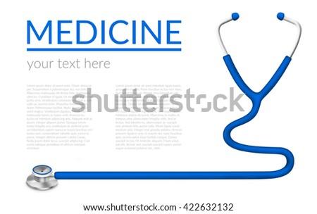 Illustration of stethoscope isolated on white background with sample text - stock photo