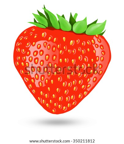 Illustration of strawberry, color large berry isolated on white background - stock photo