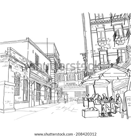 illustration of street in Moscow. Street cafe