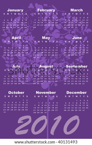 Illustration of style design Calendar for 2010