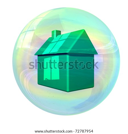 Illustration of stylized house in a bubble - stock photo