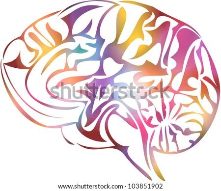 Illustration of stylized human brain - stock photo