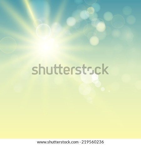 illustration of Summer background with bright sun - stock photo