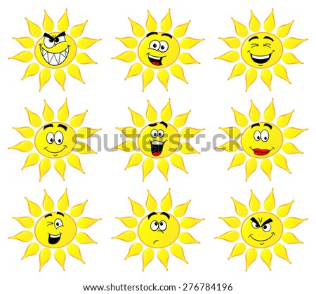 illustration of sun cartoons with many faces isolated on white background - stock photo