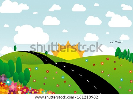 Illustration of sunny day landscape with flowers, trees and clouds