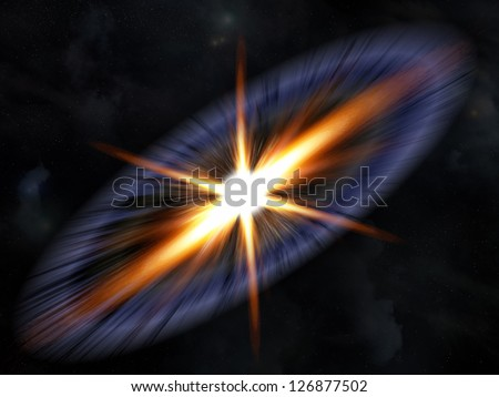 illustration of supernova explosion with star field background - stock photo