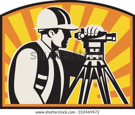 Illustration of surveyor civil geodetic engineer worker with theodolite total station equipment with sunburst done in retro woodcut style, - stock photo