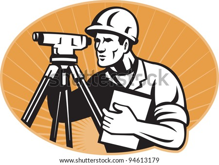 Illustration of surveyor civil geodetic engineer worker with theodolite total station equipment set inside ellipse with sunburst done in retro woodcut style, - stock photo