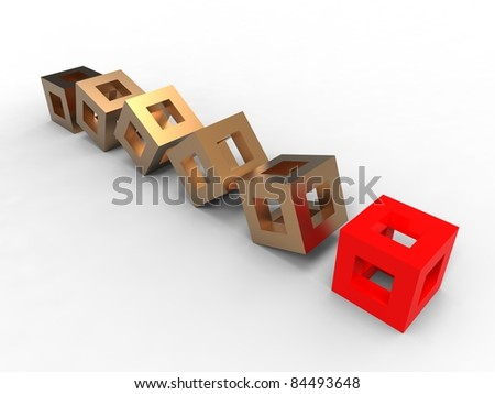 illustration of symbolic evolution of business with red cubes - stock photo