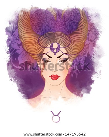 Illustration of taurus astrological sign as a beautiful girl. Watercolor art. - stock photo