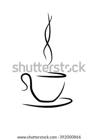 illustration of tea(coffee) cup with touch of aromatic smoke - stock photo