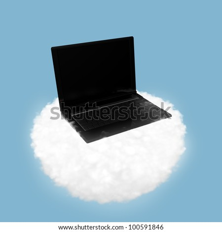 illustration of technology cloud computing. Notebook on a cloud in the sky - stock photo