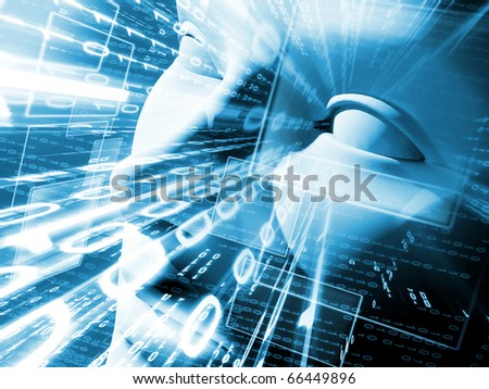 Illustration of technology with face and binary language - stock photo