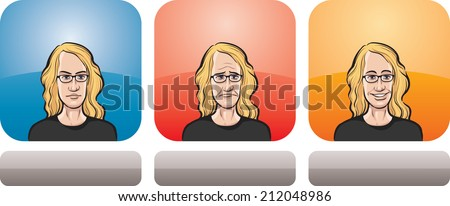 illustration of teenager face in three expressions: neutral, sad and happy - stock photo