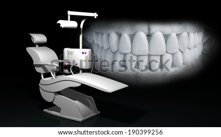 illustration of teeth and dentist chair