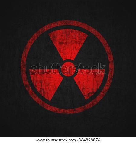 Illustration of textured radioactive sign. - stock photo