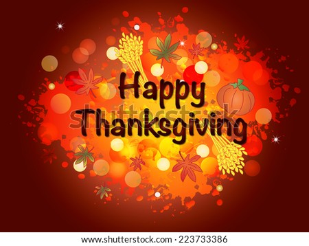 illustration of thanksgiving card with written happy thanksgiving - stock photo