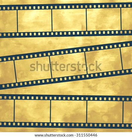 Illustration of the abstract film strips on vintage background - stock photo
