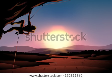 Illustration of the afternoon view of the desert