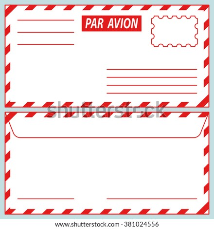 Illustration of the airmail envelope icons - stock photo