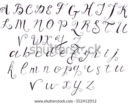 Illustration Of The Alphabet In Manuscript Form All Letters Uppercase And Lowercase
