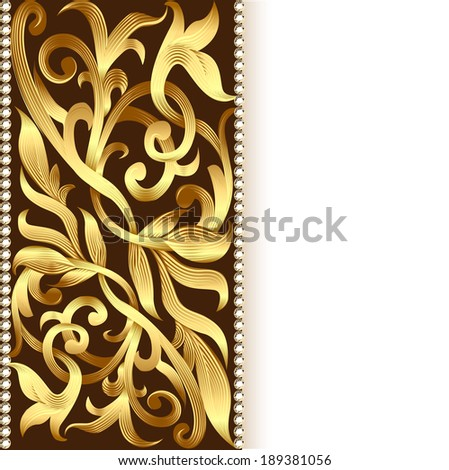 illustration of the background and ornament of gold for invitations - stock photo