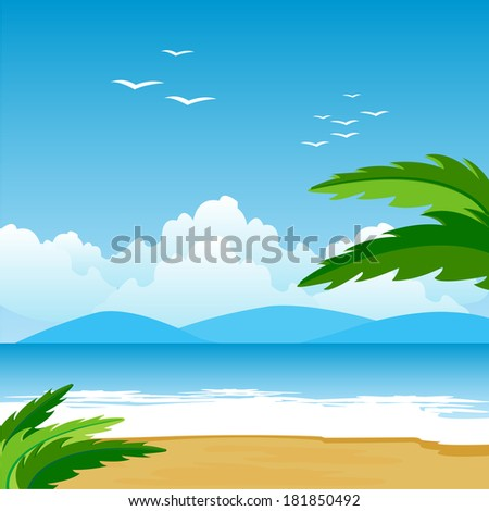 Illustration of the beach and epidemic deathes on tropical coast.Raster version - stock photo