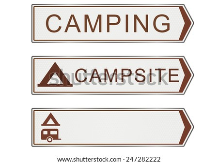 Illustration of the campsite road sign. Raster. - stock photo