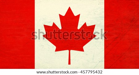 Illustration of the Canadian Flag with a  grunge  look